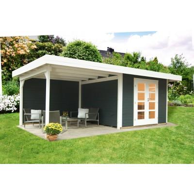 Relax Lounge C anthrazit mit Seitendach und Rückwand 300 cm